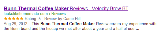 Schema markup helps search engines to find business reviews and ratings. These may be displayed in search results.