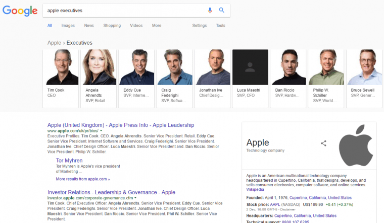 apple executives knowledge graph carousel