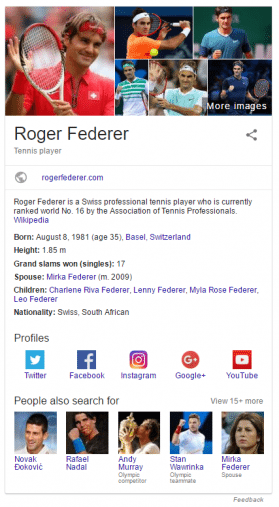 federer knowledge graph panel