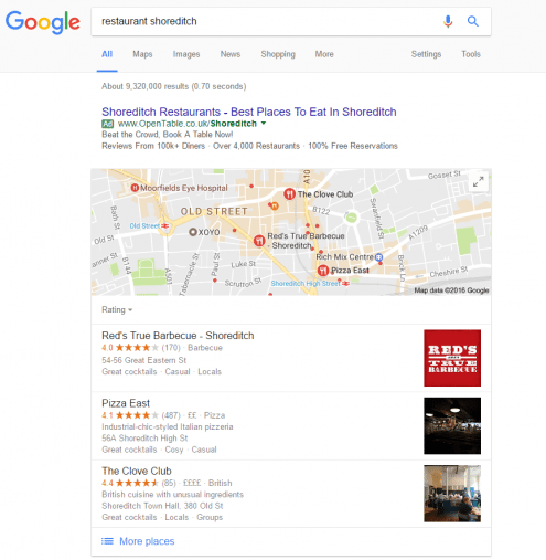 screenshot of local search results