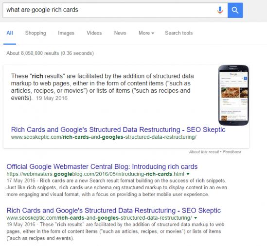 google rich card