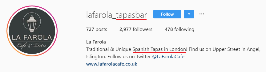 An example of an Instagram bio that uses keywords intelligently