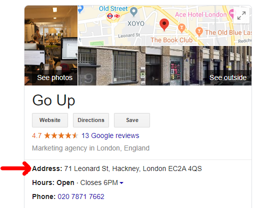 An example of a Google Business listing using an identical NAP to what is listed on the business's website.