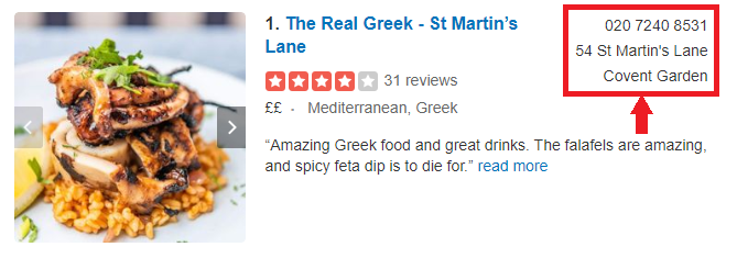 An example of a Greek restaurant using its NAP in a citation on Yelp