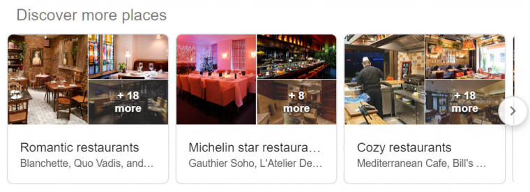 An example of a discover more places box in Google search results