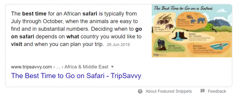 An example of a featured snippet in Google search results