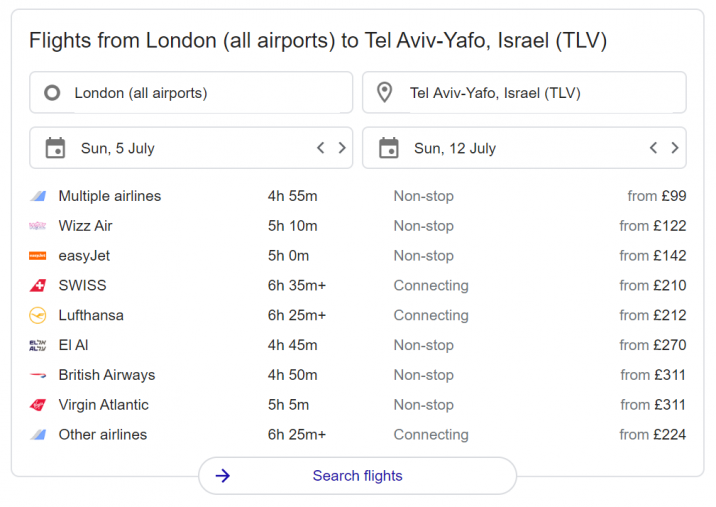 An example of Google Flights appearing in search results