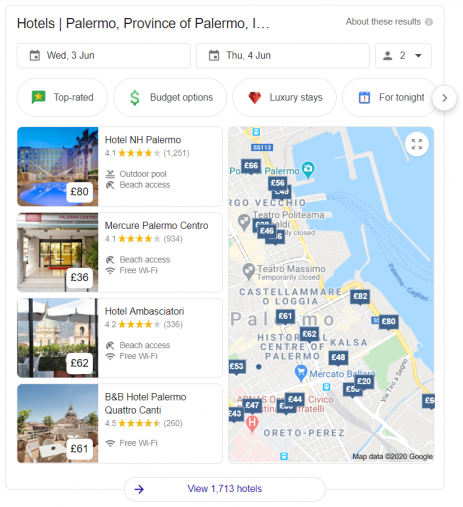 An example of hotel results appearing in Google search results