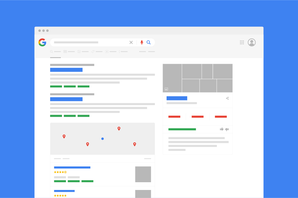 An illustration of a search results page with various different SERP features