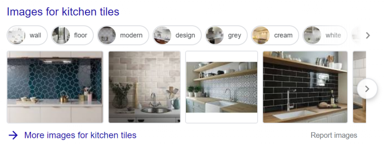 An example of image results appearing in Google search results