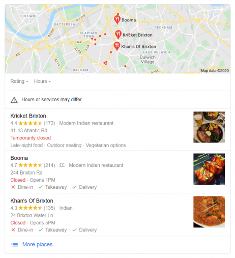 An example of a local pack in Google search results