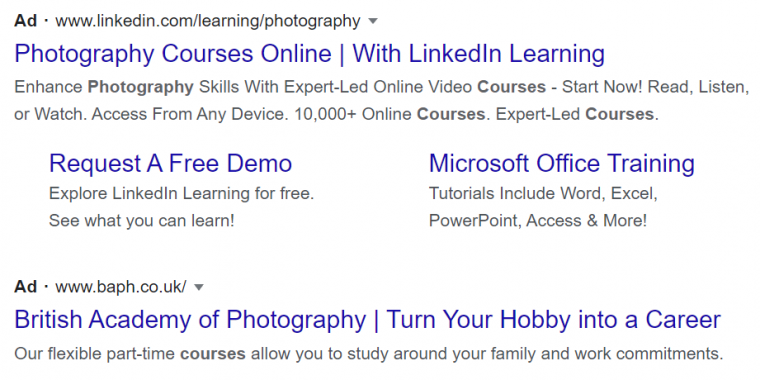 An example of PPC ads in a Google search results page
