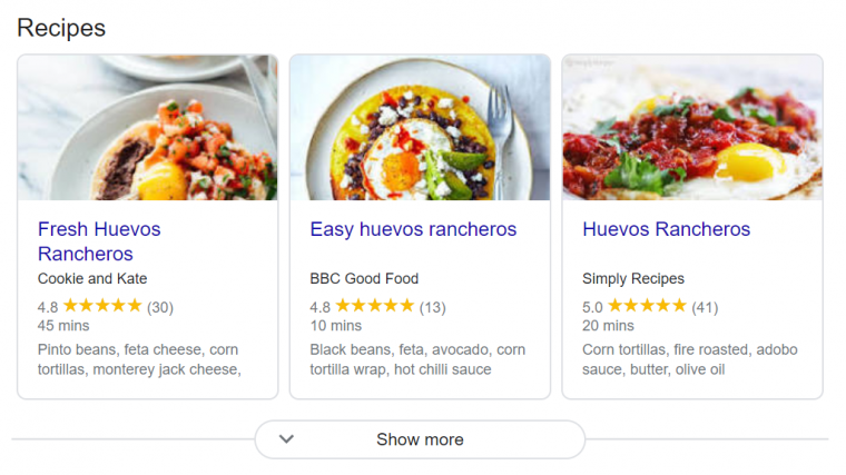 Examples of recipe cards appearing in a Google search result