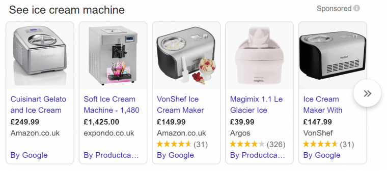An example of Google shopping ads appearing in search results