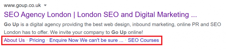 An example of sitelinks appearing on a Google search result