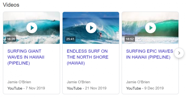 An example of a video results carousel appearing in Google search results