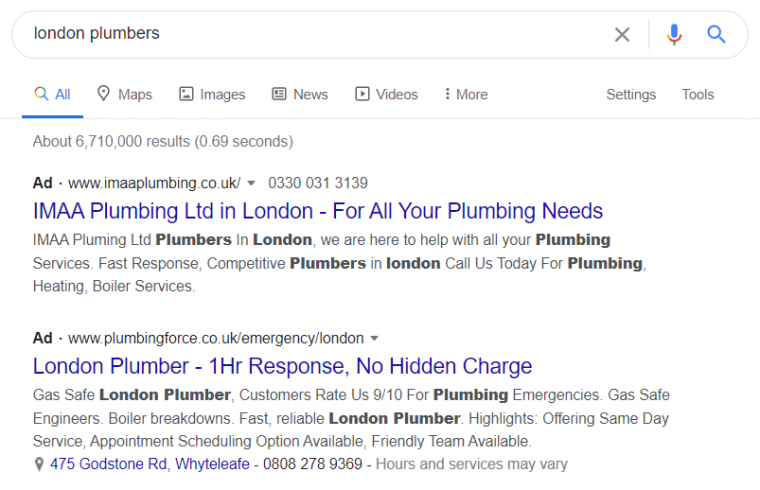 An example of a paid local service ad appearing in search results.