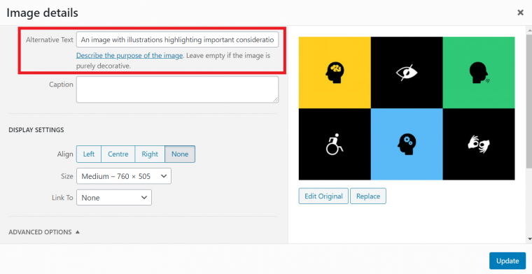 An image showing where you can add alt text to images on WordPress websites.