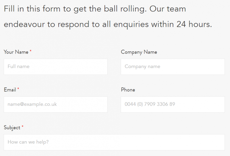 An example of clear labelling in use on a contact form.