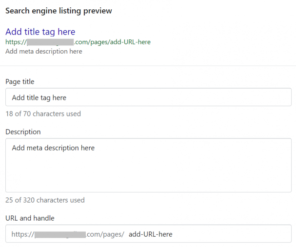 How to optimise URL and meta data on Shopify