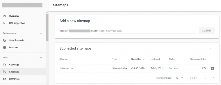 Submit your website's sitemap using the sitemap function on Search Console.