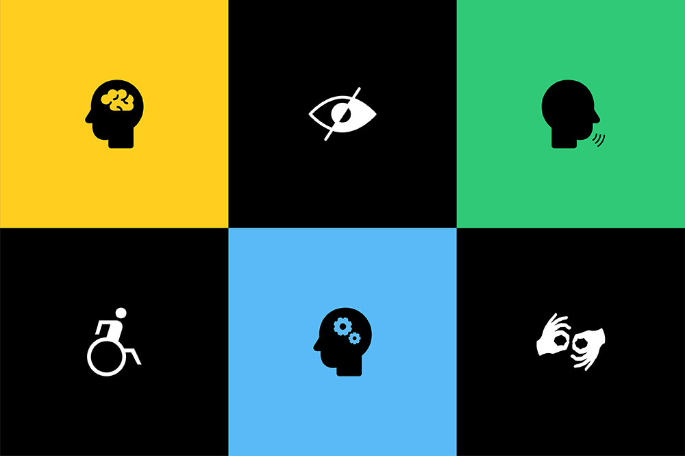 An image with illustrations highlighting important considerations when designing for accessibility.